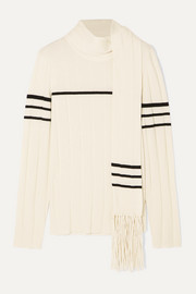 JW Anderson Tasseled draped wool and cashmere-blend sweater