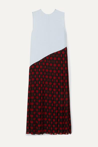 J.w.anderson Dresses ASYMMETRIC PLEATED SATIN AND POLKA-DOT CHIFFON MIDI DRESS