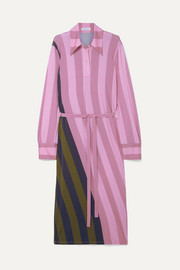 JW Anderson Belted striped stretch-jersey midi dress