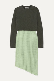 JW Anderson Asymmetric layered wool-blend and linen-blend midi dress