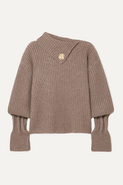 JW Anderson Embellished ribbed wool and cashmere-blend turtleneck sweater