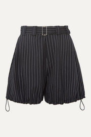 JW Anderson Striped belted wool-blend shorts