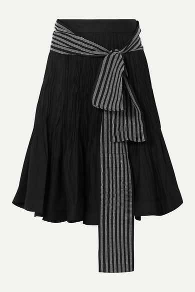 Jw Anderson Belted Pleated Cotton-Blend Midi Skirt In Black