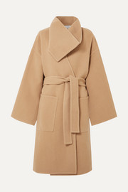 Belted wool and cashmere-blend coat