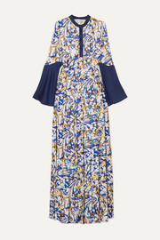 Desmine pleated printed satin-twill maxi dress