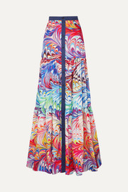 Mary Katrantzou Tiered printed twill maxi skirt