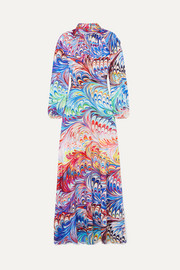 Belle printed crepe de chine gown