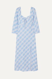 Giselle checked crepe de chine dress