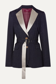 Sies Marjan Terry belted satin-trimmed pinstriped wool-blend twill blazer