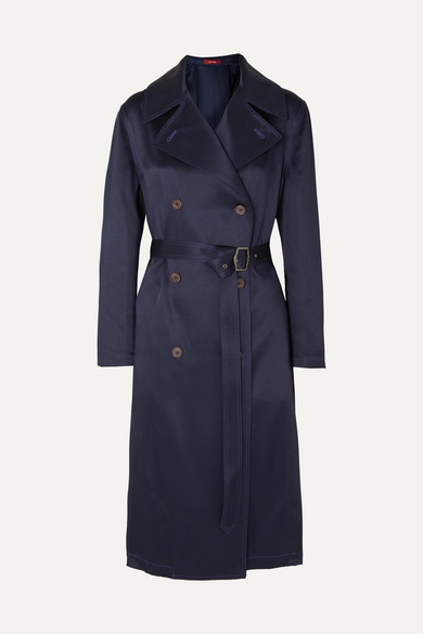 Sigourney Double Breasted Satin Twill Trench Coat by Sies Marjan