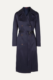 Sies Marjan Sigourney double-breasted satin-twill trench coat