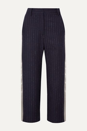 Sies Marjan Bexley cropped satin-trimmed pinstriped wool-blend twill straight-leg pants
