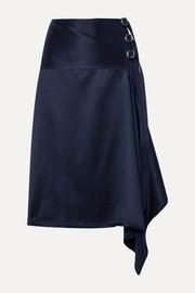 Tamiko draped wrap-effect satin-twill midi skirt
