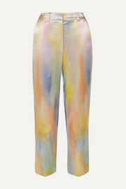 Willa cropped printed satin straight-leg pants
