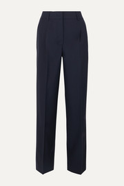 Pleated wool tapered pants