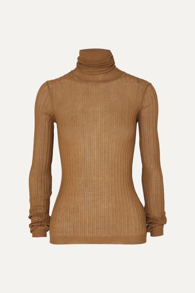 Ribbed Cotton Blend Turtleneck Sweater by Bottega Veneta