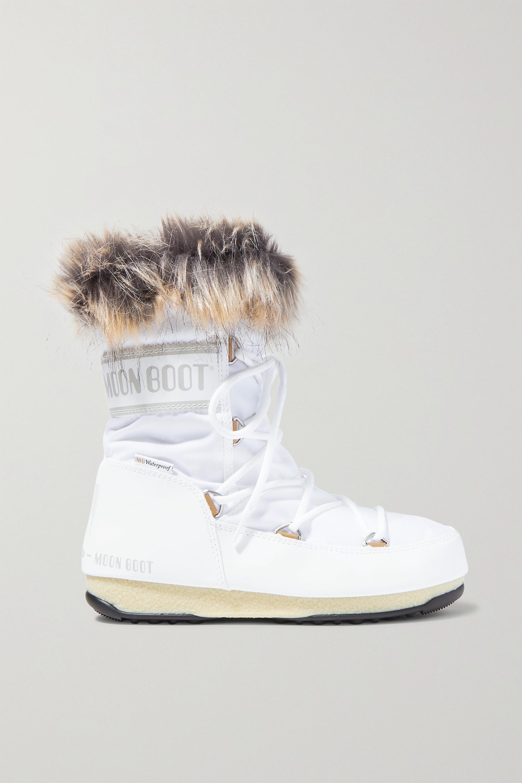 Moon Boot Monaco Schneestiefel aus Shell und Kunstleder mit Faux-Fur-Besatz