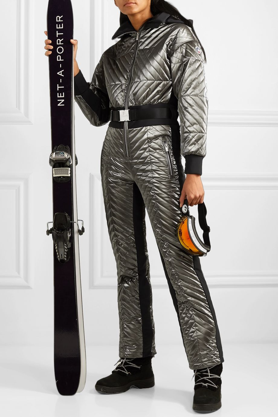 Fusalp Rebecca metallic belted quilted padded ski suit