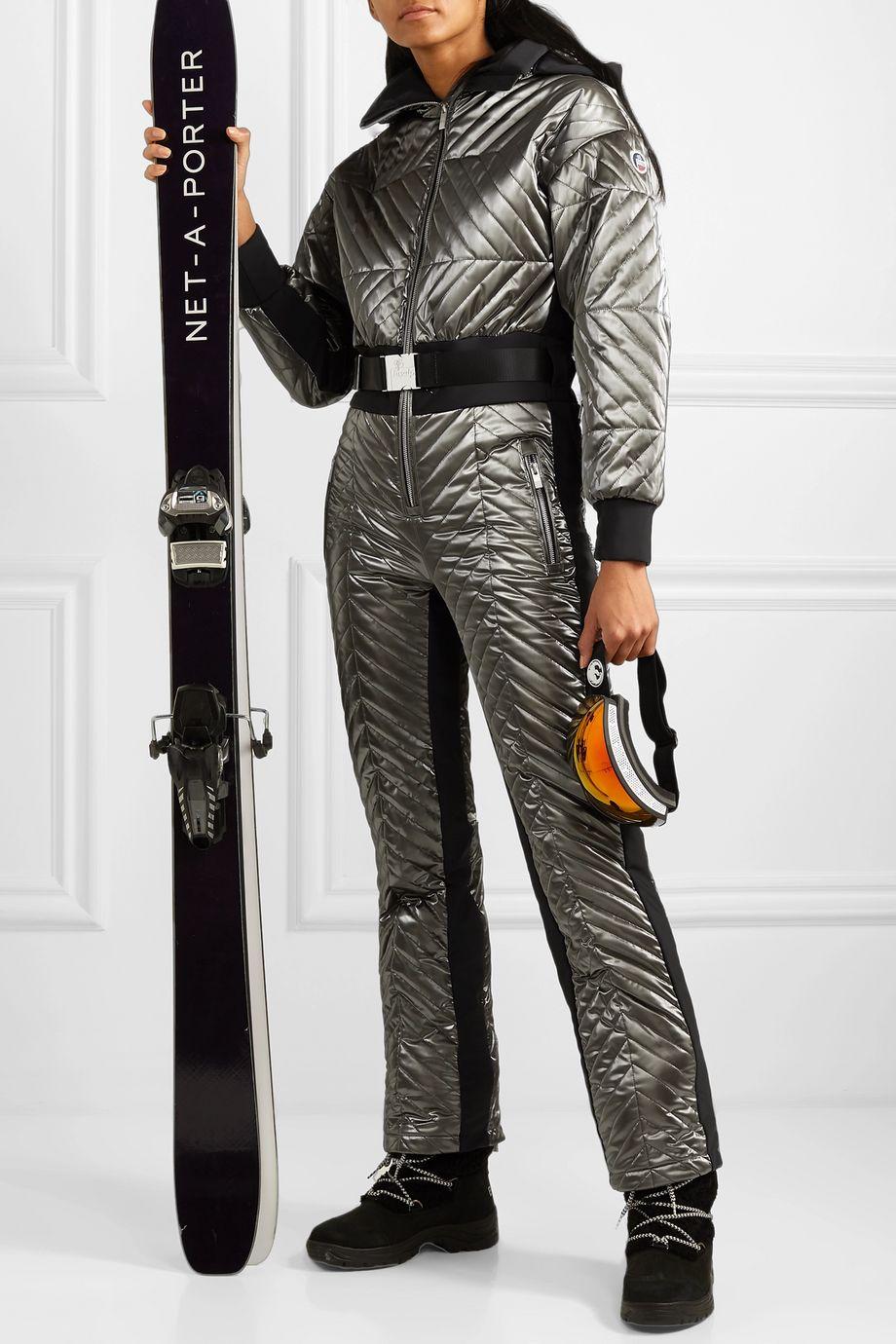 Fusalp Rebecca 金属感配腰带绗缝带填充物连体滑雪服