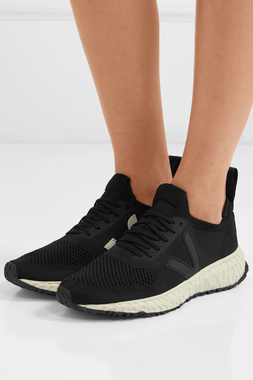 fumar Enjuague bucal Detectar  Black + Veja vegan-leather trimmed V-knit sneakers | Rick Owens |  NET-A-PORTER
