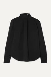 Riley pleated voile turtleneck blouse