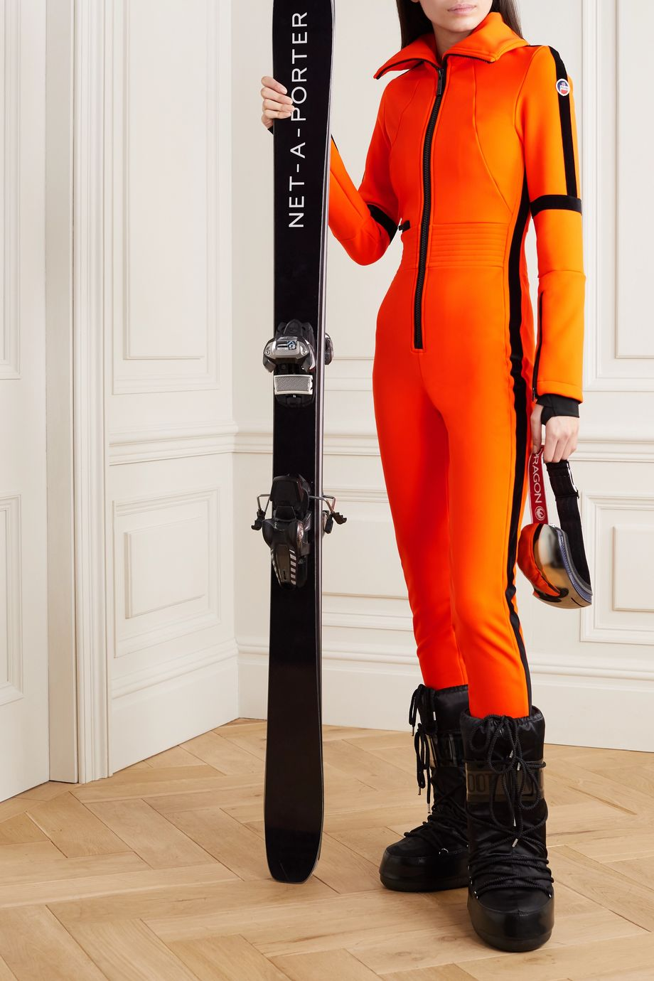 Fusalp Cema stirrup velvet-trimmed ski suit