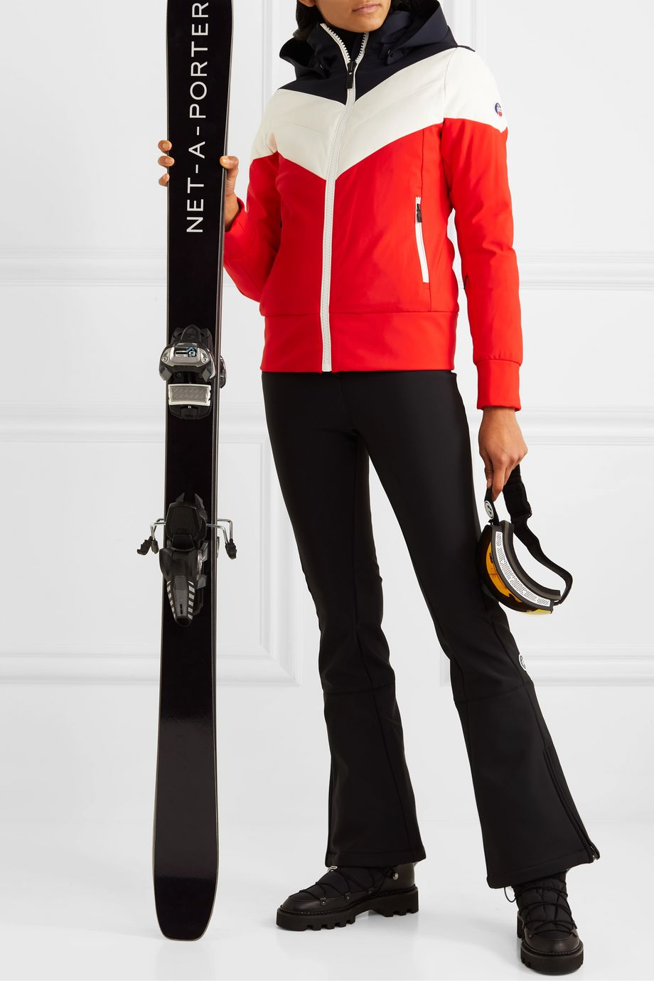 Fusalp Lia hooded color-block quilted padded ski jacket