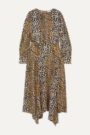 Elsa leopard-print crepe de chine midi dress