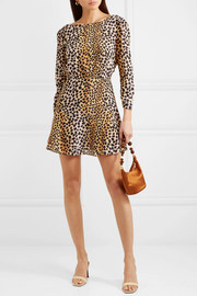 Kyla leopard-print silk crepe de chine mini dress