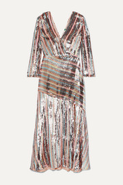 RIXO Tyra striped sequined crepe midi dress