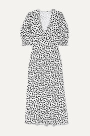 Zadie polka-dot crepe midi dress