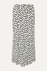 RIXO Kelly polka-dot crepe midi skirt