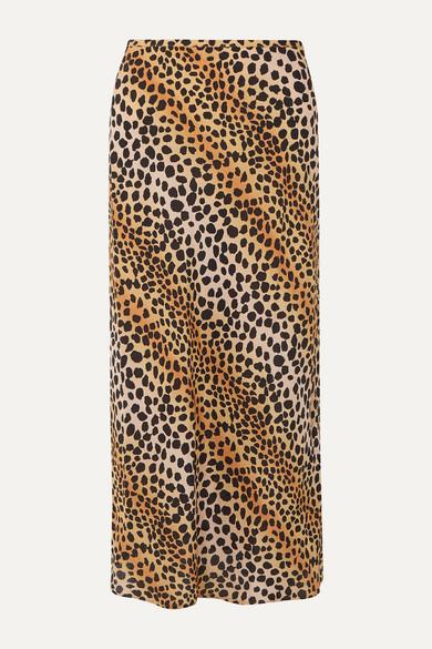 Kelly Leopard Print Silk Crepe De Chine Midi Skirt by Rixo