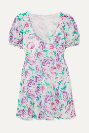 RIXO Morgan floral-print linen and silk-blend mini dress