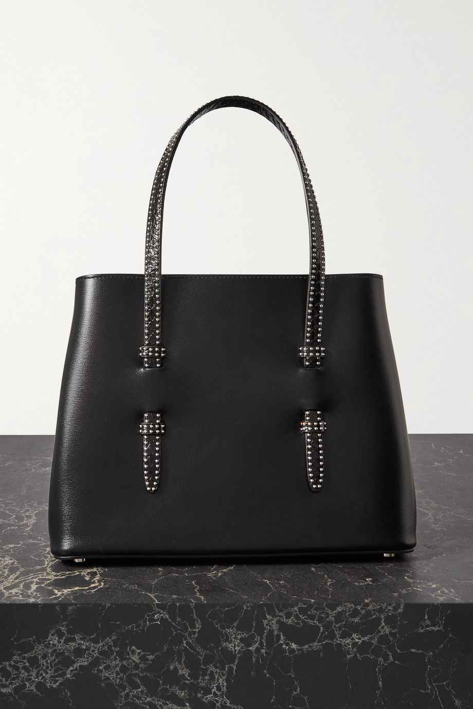 Alaïa Mina small studded watersnake-trimmed leather tote