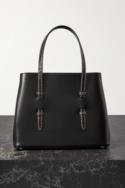 Small studded watersnake-trimmed leather tote