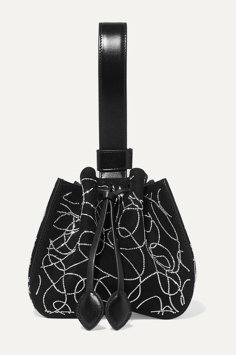 Alaïa Rose Marie mini crystal-embellished suede and leather bucket bag