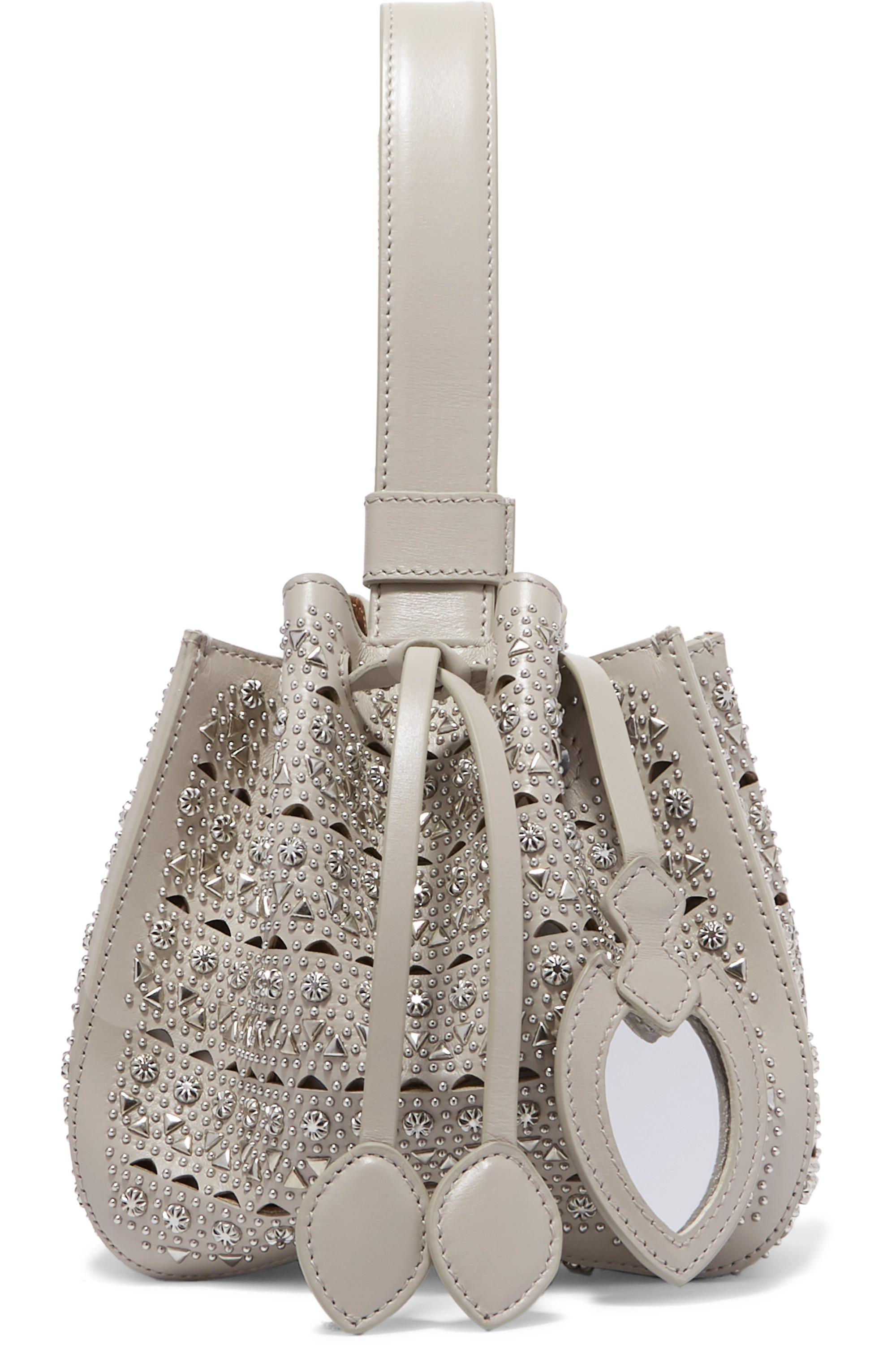 Alaïa Rose Marie mini embellished laser-cut leather bucket bag