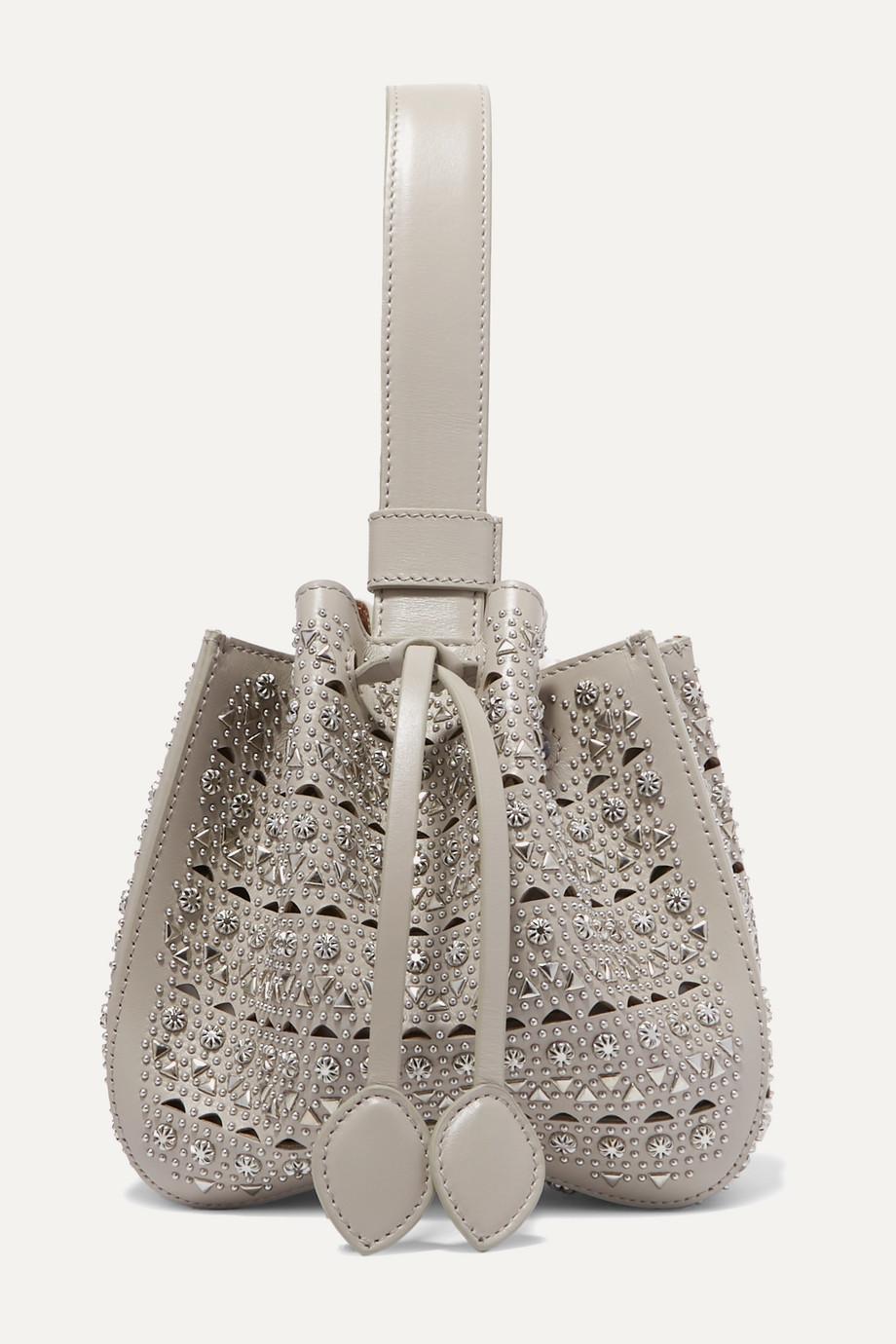 Alaïa Rose Marie mini embellished laser-cut leather bucket bag
