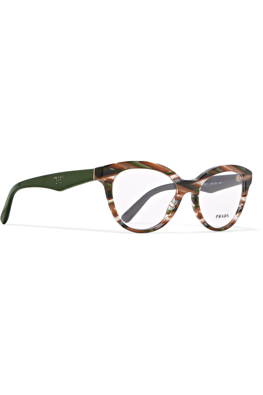 Prada Round-frame marbled acetate optical glasses