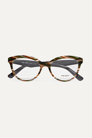 Round-frame marbled acetate optical glasses