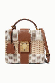 Mark Cross Harley textured leather-trimmed two-tone rattan shoulder bag