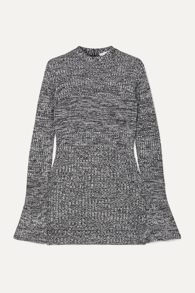 Cutout Mélange Ribbed Knit Tunic by Victoria, Victoria Beckham