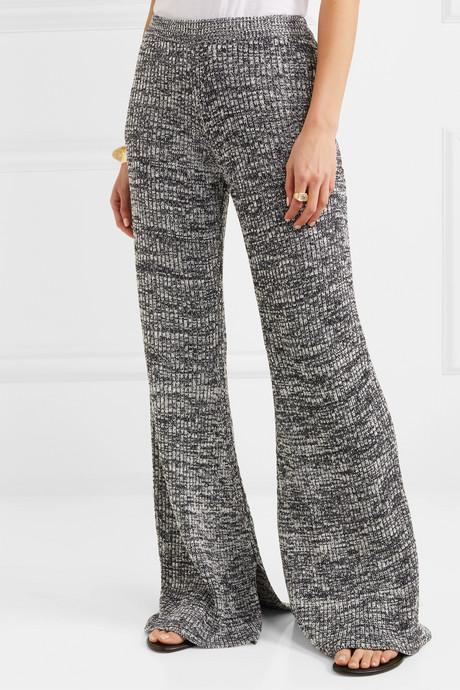 Mélange ribbed-knit flared pants