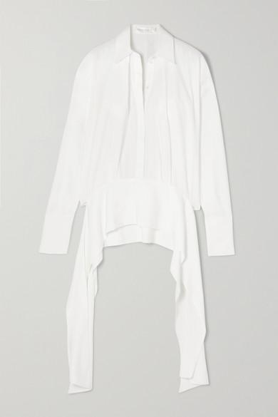 Tie Detailed Satin Shirt by Victoria, Victoria Beckham