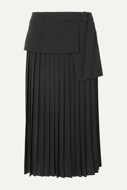 Victoria, Victoria Beckham Asymmetric pleated crepe midi skirt