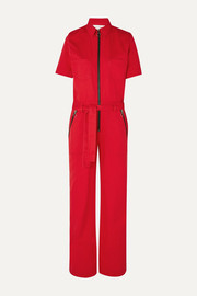 Belted cotton-drill jumpsuit