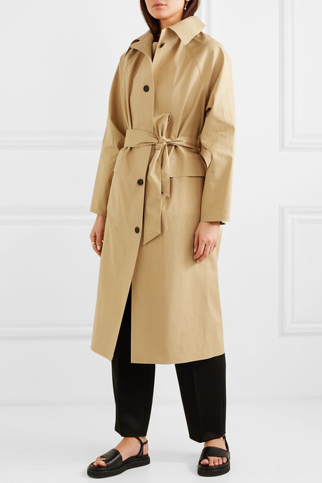 Belted cotton-blend canvas trench coat