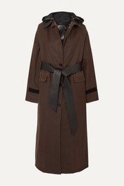 Kassl Editions Belted hooded coated-cotton coat