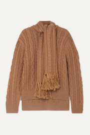 Draped fringed cable-knit wool-blend sweater